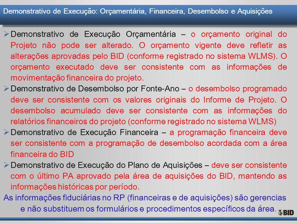 Demonstrativo de Execução: Orçamentária, Financeira, Desembolso e Aquisições  Demonstrativo de Execução Orçamentária – o orçamento original do Projet