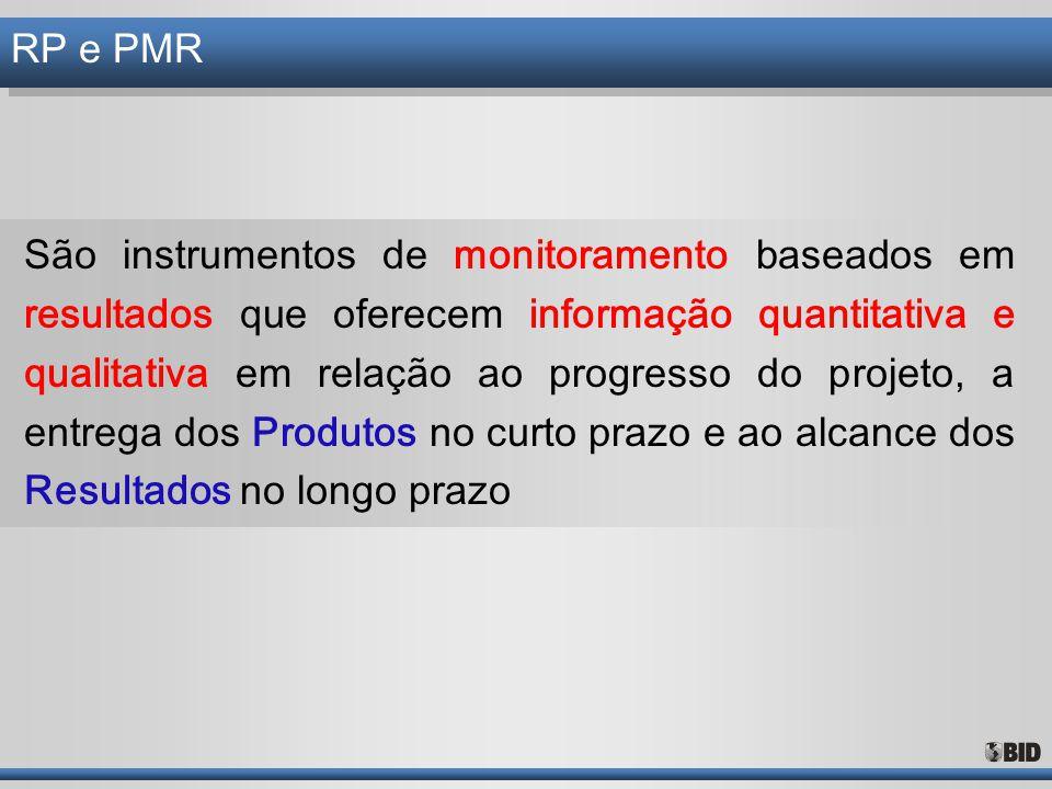 RP e PMR São instrumentos de monitoramento baseados em resultados que oferecem informação quantitativa e qualitativa em relação ao progresso do projet