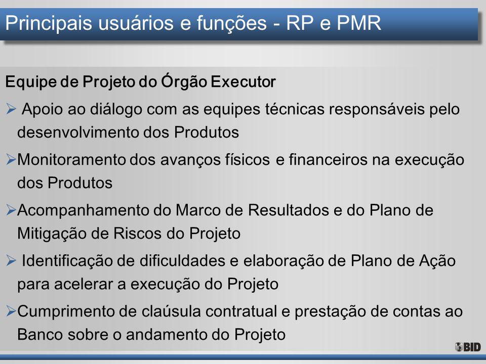 Principais usuários e funções - RP e PMR Equipe de Projeto do Órgão Executor  Apoio ao diálogo com as equipes técnicas responsáveis pelo desenvolvime