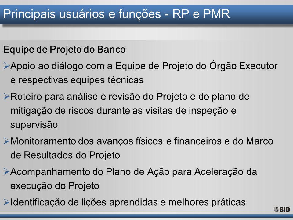 Principais usuários e funções - RP e PMR Equipe de Projeto do Banco  Apoio ao diálogo com a Equipe de Projeto do Órgão Executor e respectivas equipes