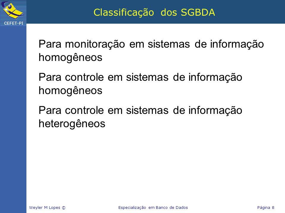 Classificação dos SGBDA Weyler M Lopes © Especialização em Banco de Dados Página 8 Para monitoração em sistemas de informação homogêneos Para controle em sistemas de informação homogêneos Para controle em sistemas de informação heterogêneos