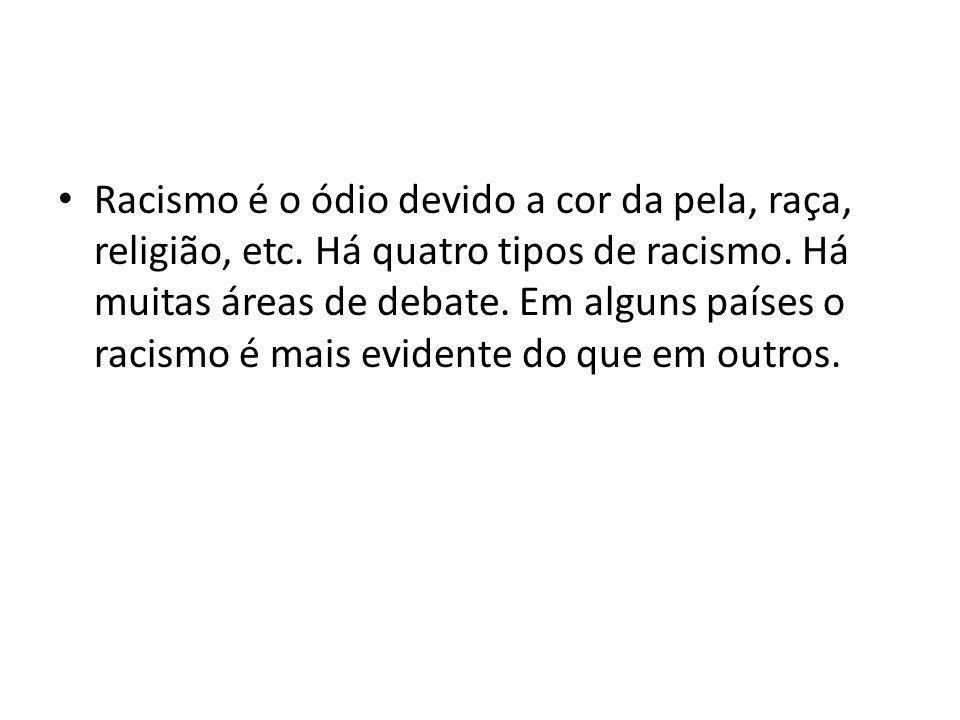 Racismo é o ódio devido a cor da pela, raça, religião, etc. Há quatro tipos de racismo. Há muitas áreas de debate. Em alguns países o racismo é mais e
