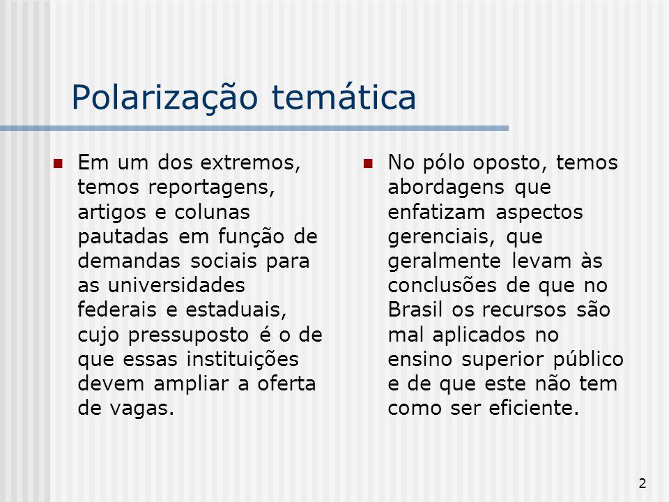 3 Polarização temática Nessas duas abordagens costuma ser praticamente desconsiderado que as universidades públicas respondem não só pela quase totalidade da formação de pesquisadores do país, mas também por grande parte da pesquisa científica brasileira de nível internacional.