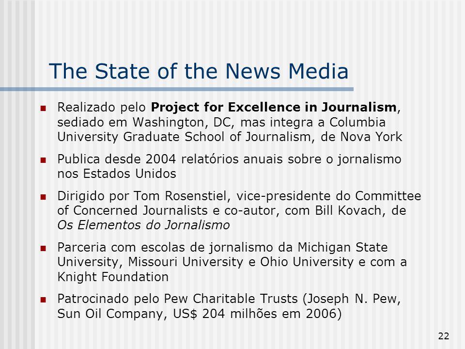 22 The State of the News Media Realizado pelo Project for Excellence in Journalism, sediado em Washington, DC, mas integra a Columbia University Gradu
