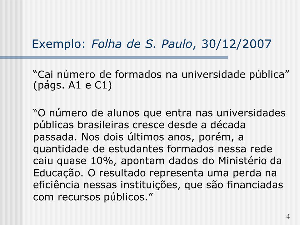 5 Exemplo: Folha de S.Paulo, 30/12/2007 Cai número de formados na universidade pública (págs.