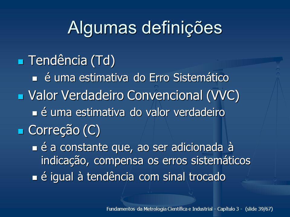 Fundamentos da Metrologia Científica e Industrial - Capítulo 3 - (slide 40/67) Correção dos erros sistemáticos TdC = -Td