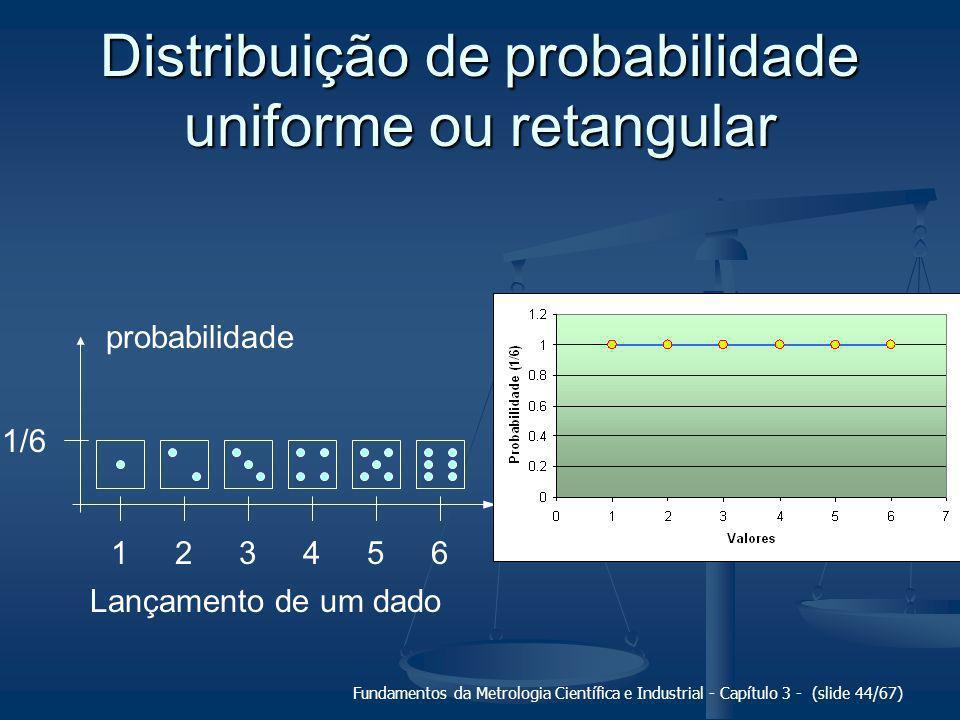 Fundamentos da Metrologia Científica e Industrial - Capítulo 3 - (slide 45/67) Distribuição de probabilidade triangular 1,51,02,52,03,53,04,54,05,55,06,0 probabilidade (1/36) 2 4 6 Média de dois dados
