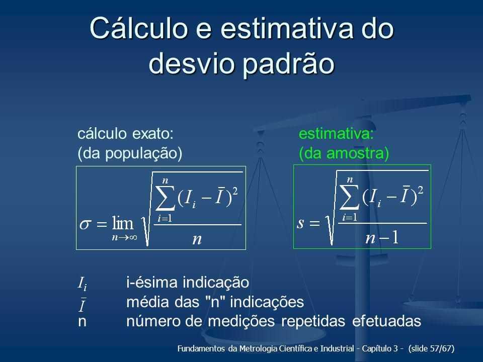 Fundamentos da Metrologia Científica e Industrial - Capítulo 3 - (slide 58/67) Incerteza padrão (u) medida da intensidade da componente aleatória do erro de medição.