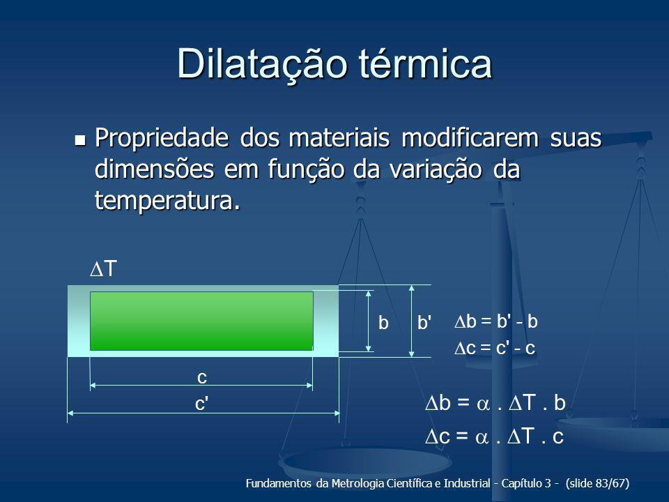 Fundamentos da Metrologia Científica e Industrial - Capítulo 3 - (slide 84/67) Temperatura de referência Por convenção, 20 °C é a temperatura de referência para a metrologia dimensional.