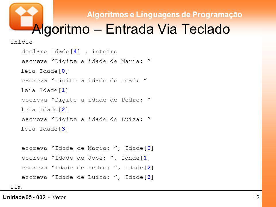 """12Unidade 05 - 002 - Vetor Algoritmos e Linguagens de Programação Algoritmo – Entrada Via Teclado início declare Idade[4] : inteiro escreva """"Digite a"""