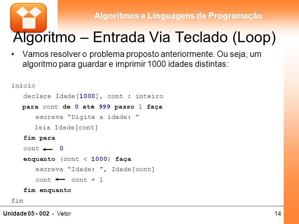 14Unidade 05 - 002 - Vetor Algoritmos e Linguagens de Programação Algoritmo – Entrada Via Teclado (Loop) Vamos resolver o problema proposto anteriorme