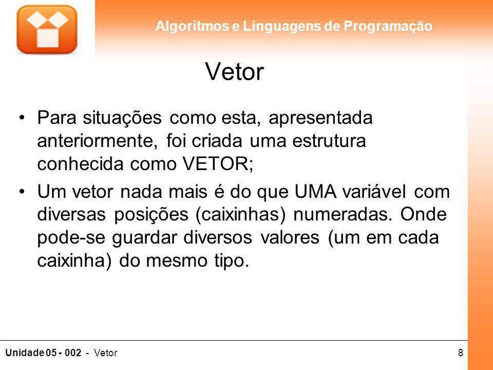 8Unidade 05 - 002 - Vetor Algoritmos e Linguagens de Programação Vetor Para situações como esta, apresentada anteriormente, foi criada uma estrutura c