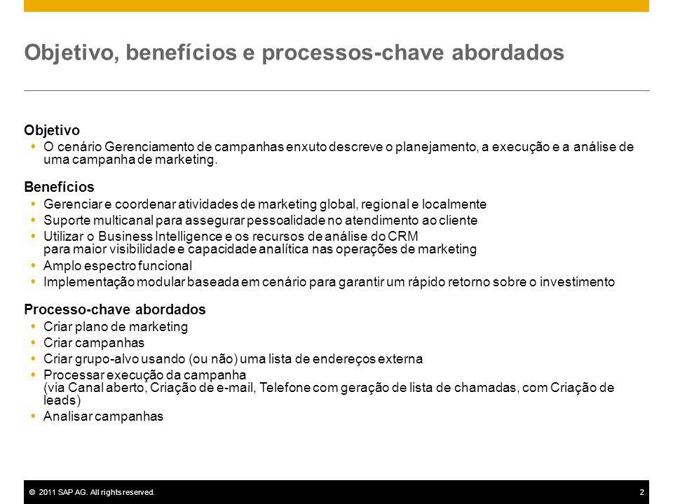 ©2011 SAP AG. All rights reserved.2 Objetivo, benefícios e processos-chave abordados Objetivo  O cenário Gerenciamento de campanhas enxuto descreve o