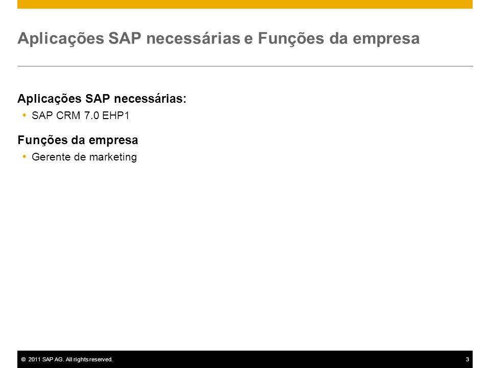 ©2011 SAP AG. All rights reserved.3 Aplicações SAP necessárias e Funções da empresa Aplicações SAP necessárias:  SAP CRM 7.0 EHP1 Funções da empresa