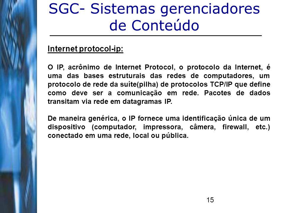 15 SGC- Sistemas gerenciadores de Conteúdo Internet protocol-ip: O IP, acrônimo de Internet Protocol, o protocolo da Internet, é uma das bases estrutu