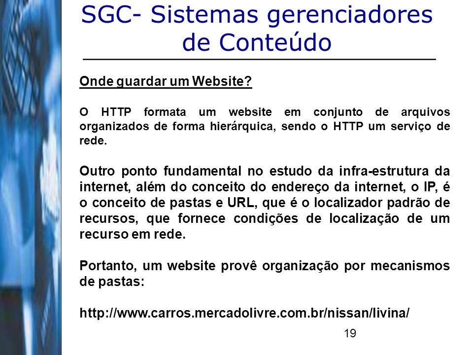 19 SGC- Sistemas gerenciadores de Conteúdo Onde guardar um Website? O HTTP formata um website em conjunto de arquivos organizados de forma hierárquica