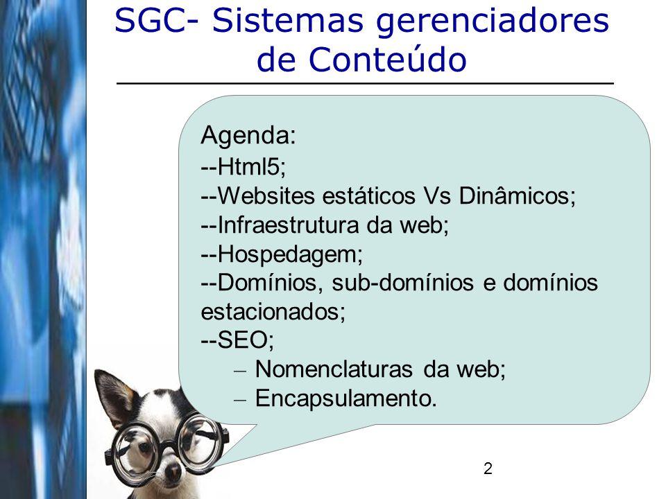 2 SGC- Sistemas gerenciadores de Conteúdo Agenda: --Html5; --Websites estáticos Vs Dinâmicos; --Infraestrutura da web; --Hospedagem; --Domínios, sub-d
