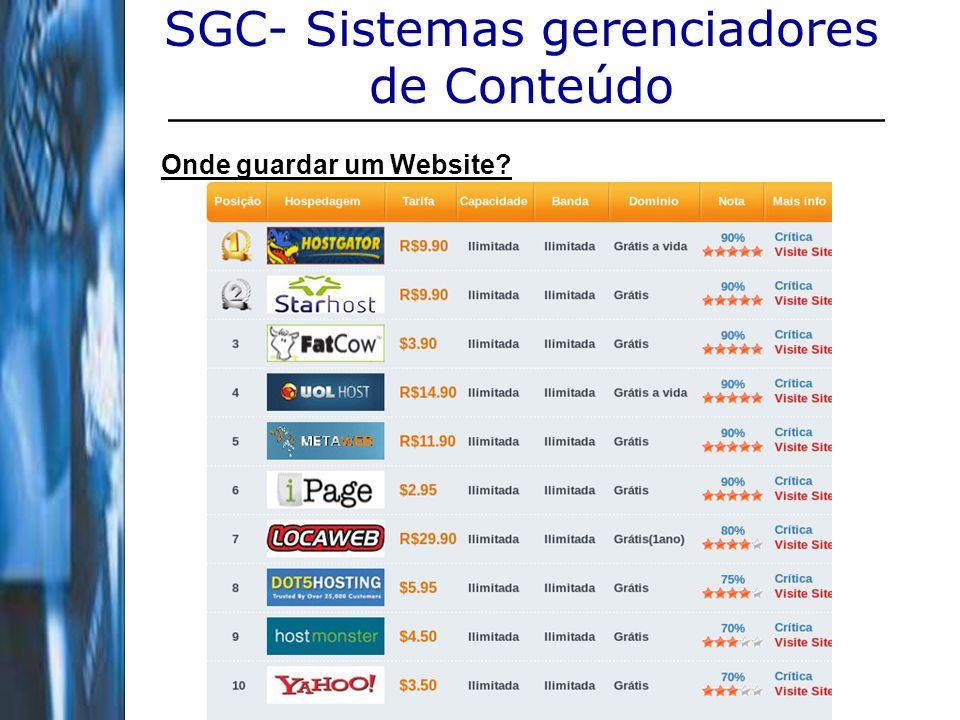 23 SGC- Sistemas gerenciadores de Conteúdo Onde guardar um Website?