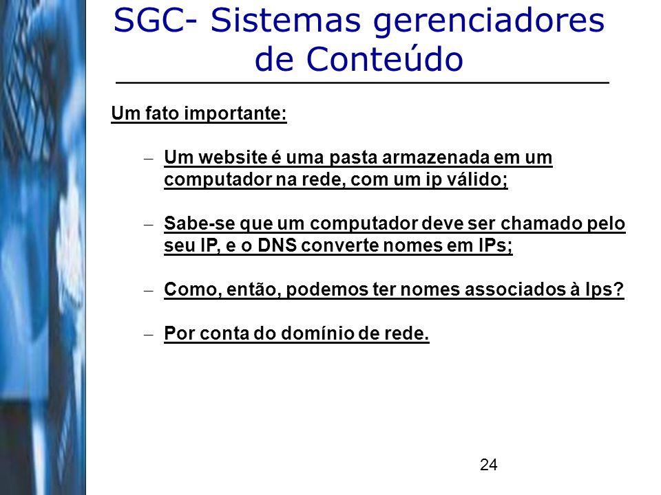 24 SGC- Sistemas gerenciadores de Conteúdo Um fato importante: – Um website é uma pasta armazenada em um computador na rede, com um ip válido; – Sabe-