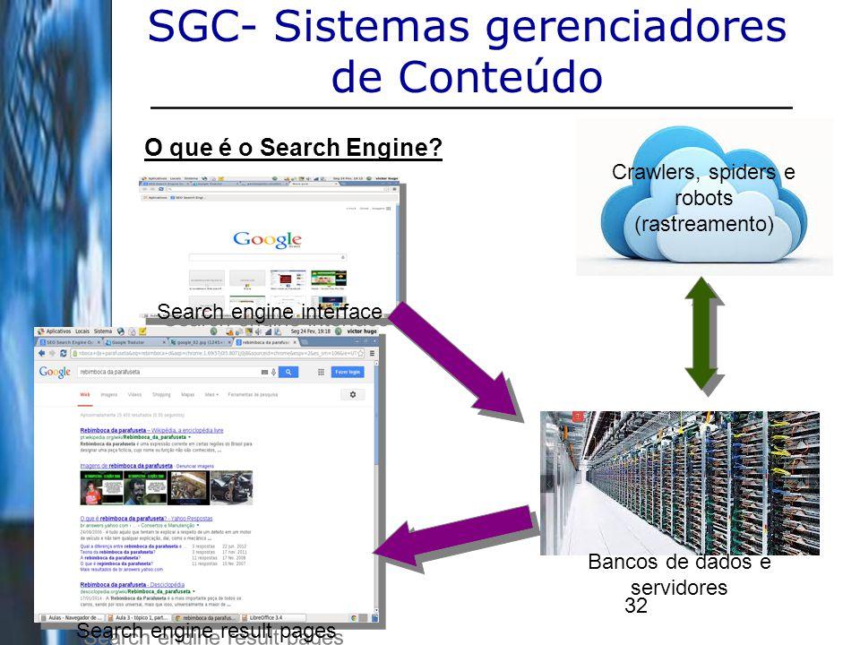 32 SGC- Sistemas gerenciadores de Conteúdo O que é o Search Engine? Bancos de dados e servidores Search engine interface Search engine result pages Cr