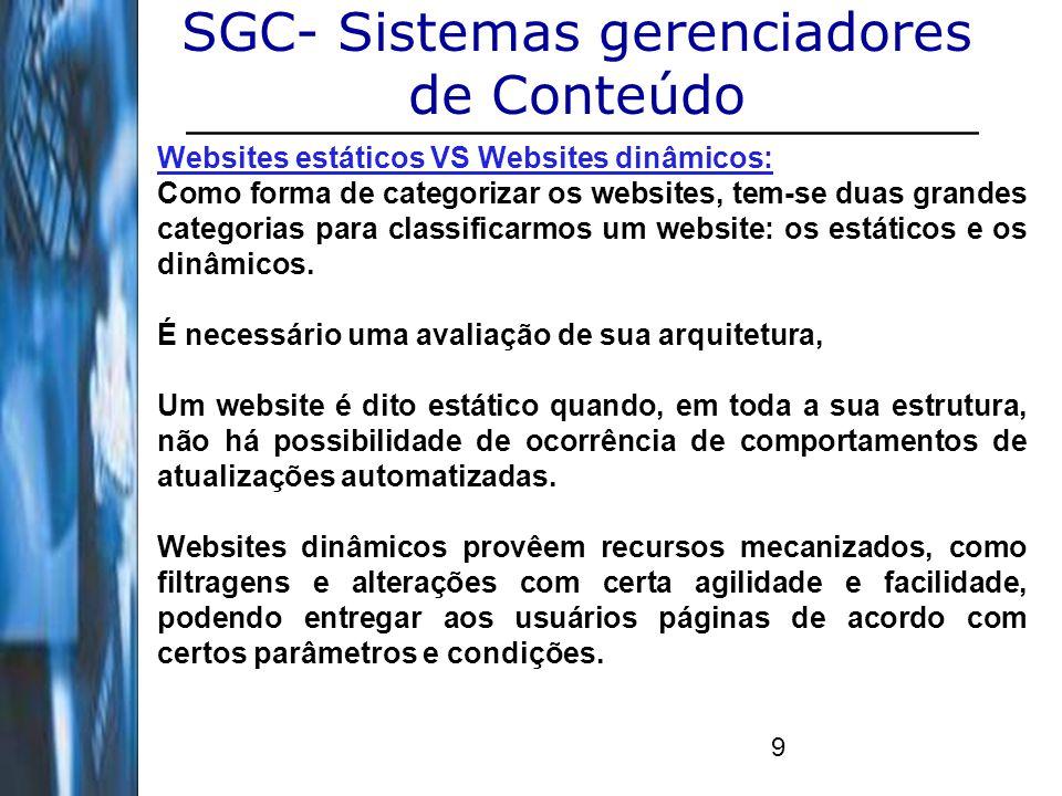 10 SGC- Sistemas gerenciadores de Conteúdo Websites estáticos VS Websites dinâmicos: Se um website possui uma arquitetura definida pela utilização de linguagens de programação server-side, como php, c#, jsp, e bancos de dados, como mySQL ou postgreSQL, ele pode responder à requisições dos seus usuários com comportamentos e decisões de forma automática, respeitando suas regras de negócio.