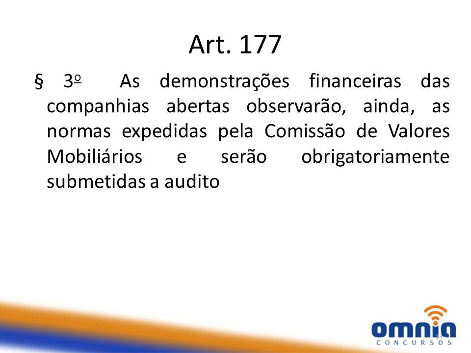 Art. 177 § 3 o As demonstrações financeiras das companhias abertas observarão, ainda, as normas expedidas pela Comissão de Valores Mobiliários e serão