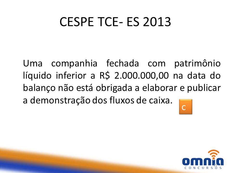 CESPE TCE- ES 2013 Uma companhia fechada com patrimônio líquido inferior a R$ 2.000.000,00 na data do balanço não está obrigada a elaborar e publicar a demonstração dos fluxos de caixa.
