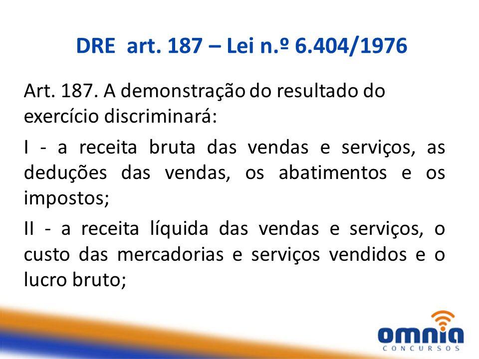 DRE art.187 – Lei n.º 6.404/1976 Art. 187.