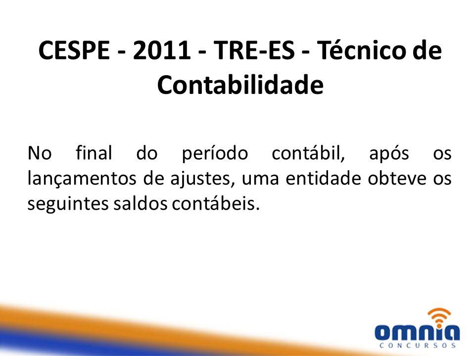 CESPE - 2011 - TRE-ES - Técnico de Contabilidade No final do período contábil, após os lançamentos de ajustes, uma entidade obteve os seguintes saldos contábeis.