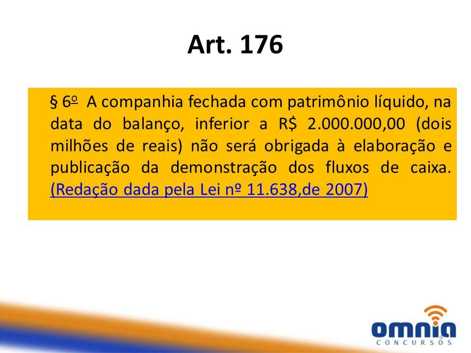 Art. 176 § 6 o A companhia fechada com patrimônio líquido, na data do balanço, inferior a R$ 2.000.000,00 (dois milhões de reais) não será obrigada à