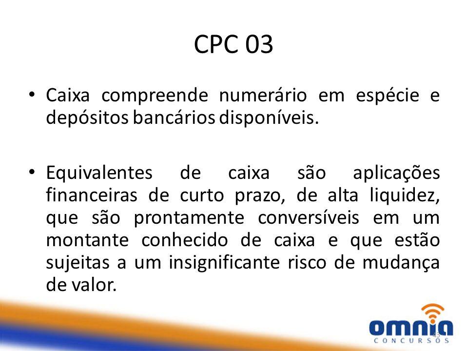 CPC 03 Caixa compreende numerário em espécie e depósitos bancários disponíveis.