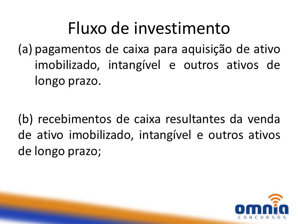 Fluxo de investimento (a)pagamentos de caixa para aquisição de ativo imobilizado, intangível e outros ativos de longo prazo.