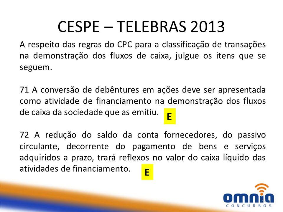 CESPE – TELEBRAS 2013 57 A respeito das regras do CPC para a classificação de transações na demonstração dos fluxos de caixa, julgue os itens que se seguem.