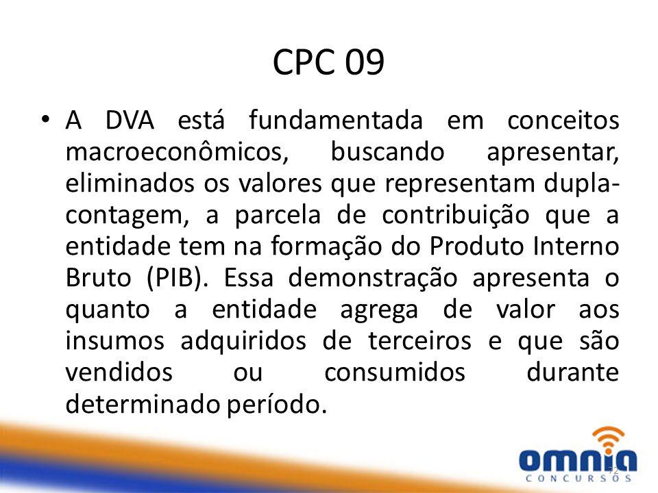 CPC 09 A DVA está fundamentada em conceitos macroeconômicos, buscando apresentar, eliminados os valores que representam dupla- contagem, a parcela de contribuição que a entidade tem na formação do Produto Interno Bruto (PIB).