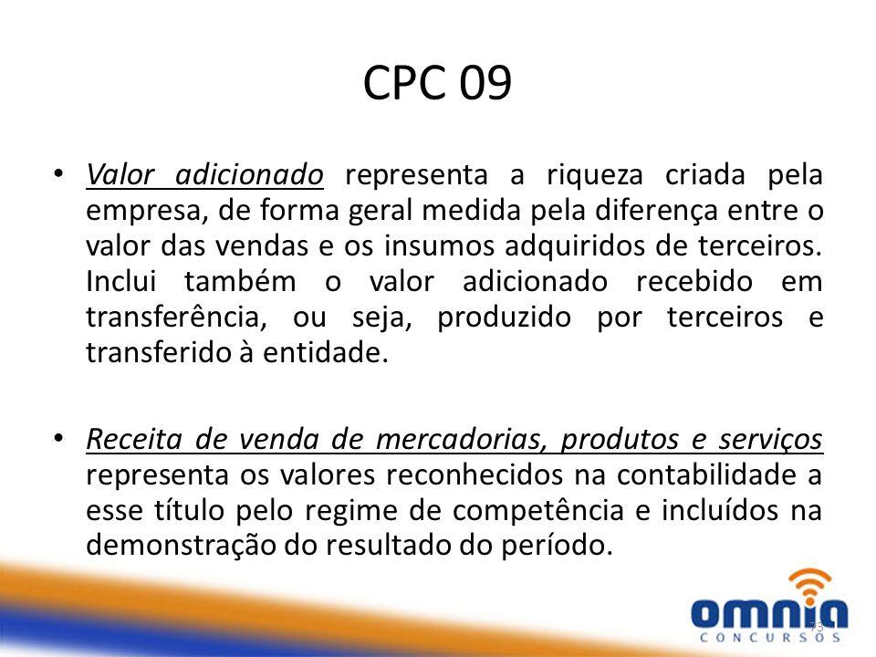 CPC 09 Valor adicionado representa a riqueza criada pela empresa, de forma geral medida pela diferença entre o valor das vendas e os insumos adquiridos de terceiros.
