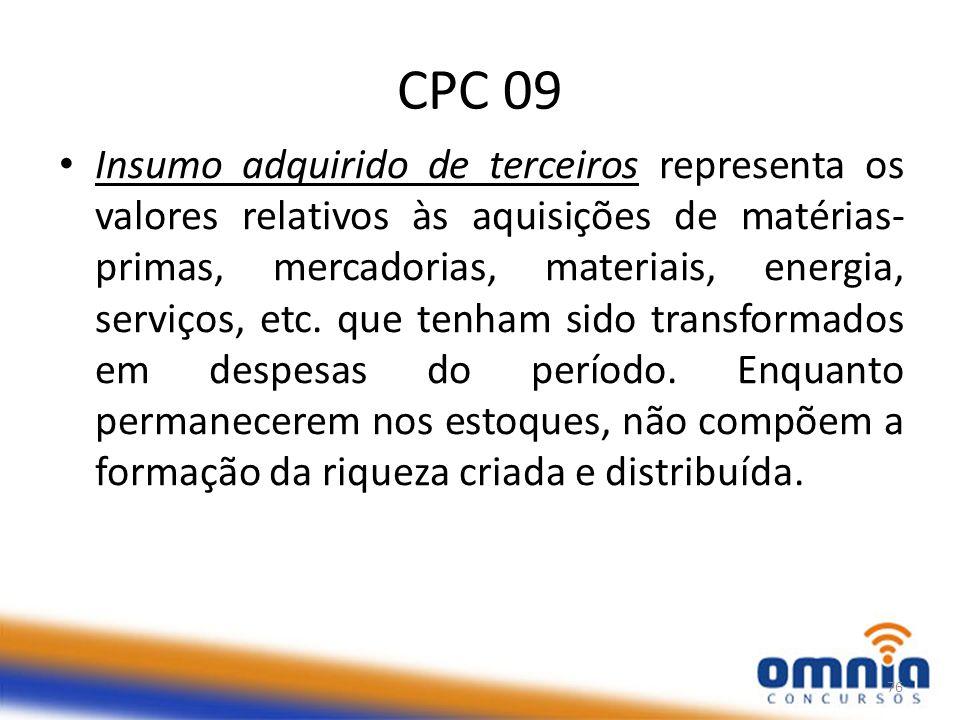 CPC 09 Insumo adquirido de terceiros representa os valores relativos às aquisições de matérias- primas, mercadorias, materiais, energia, serviços, etc.