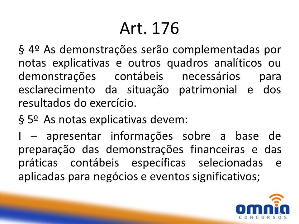 Art. 176 § 4º As demonstrações serão complementadas por notas explicativas e outros quadros analíticos ou demonstrações contábeis necessários para esc