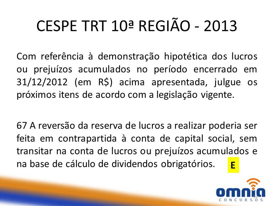 CESPE TRT 10ª REGIÃO - 2013 Com referência à demonstração hipotética dos lucros ou prejuízos acumulados no período encerrado em 31/12/2012 (em R$) acima apresentada, julgue os próximos itens de acordo com a legislação vigente.