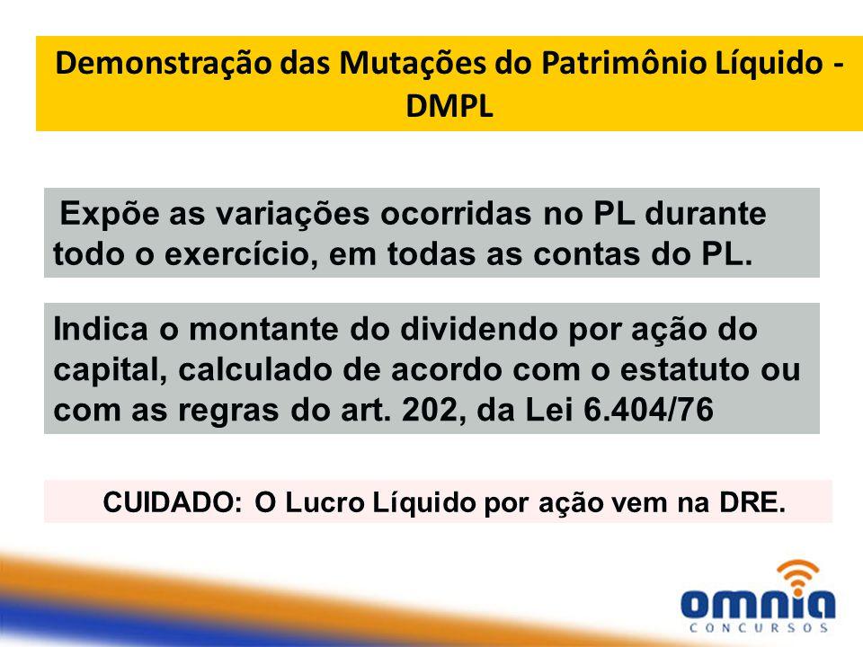 Demonstração das Mutações do Patrimônio Líquido - DMPL Expõe as variações ocorridas no PL durante todo o exercício, em todas as contas do PL.