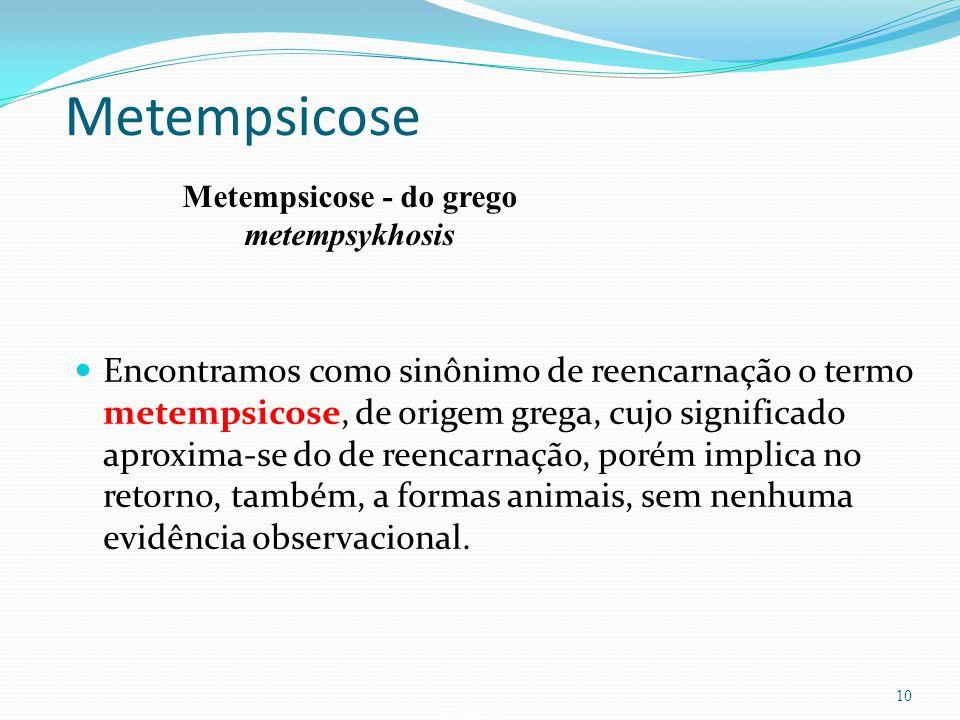 10 de 14 Metempsicose Encontramos como sinônimo de reencarnação o termo metempsicose, de origem grega, cujo significado aproxima-se do de reencarnação