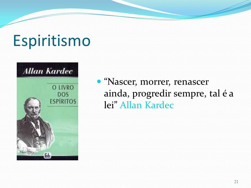 """21 de 14 Espiritismo """"Nascer, morrer, renascer ainda, progredir sempre, tal é a lei"""" Allan Kardec 21"""