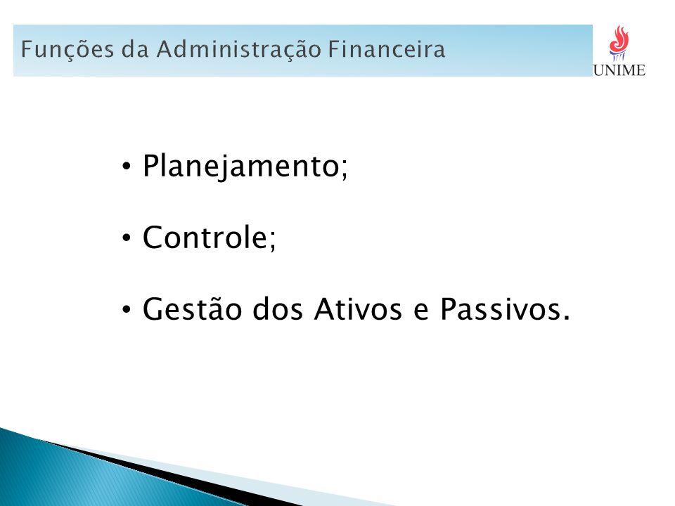 Planejamento; Controle; Gestão dos Ativos e Passivos.