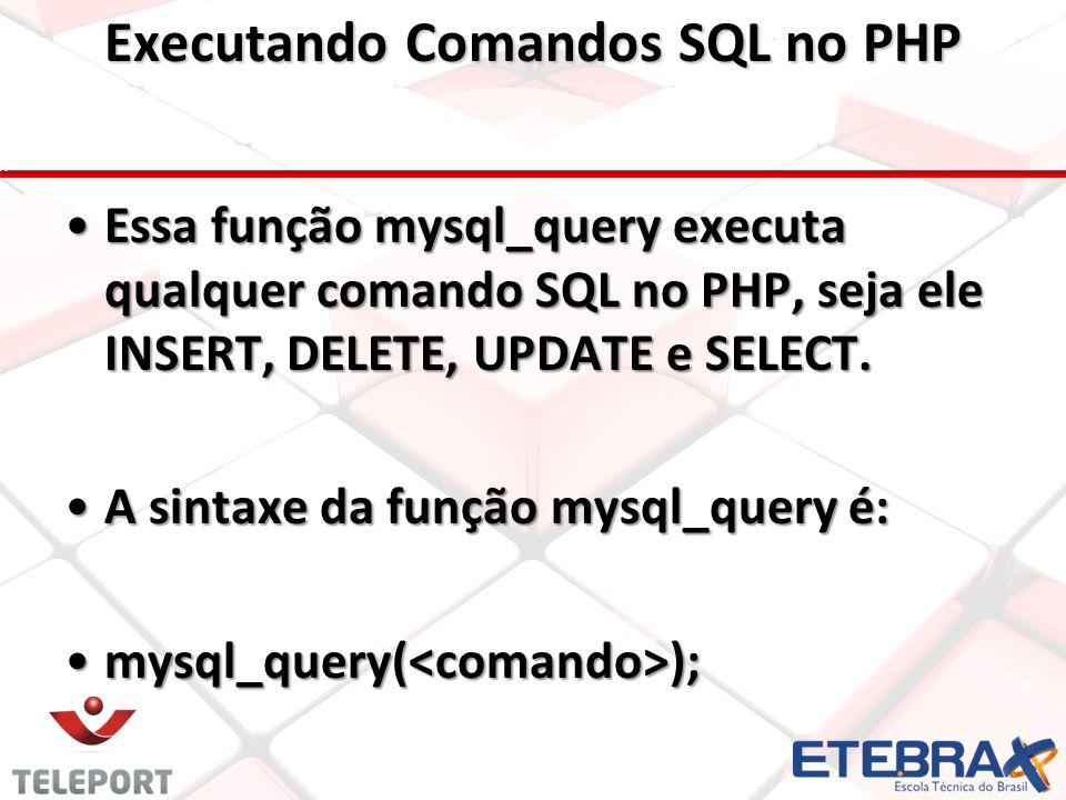 Essa função mysql_query executa qualquer comando SQL no PHP, seja ele INSERT, DELETE, UPDATE e SELECT.