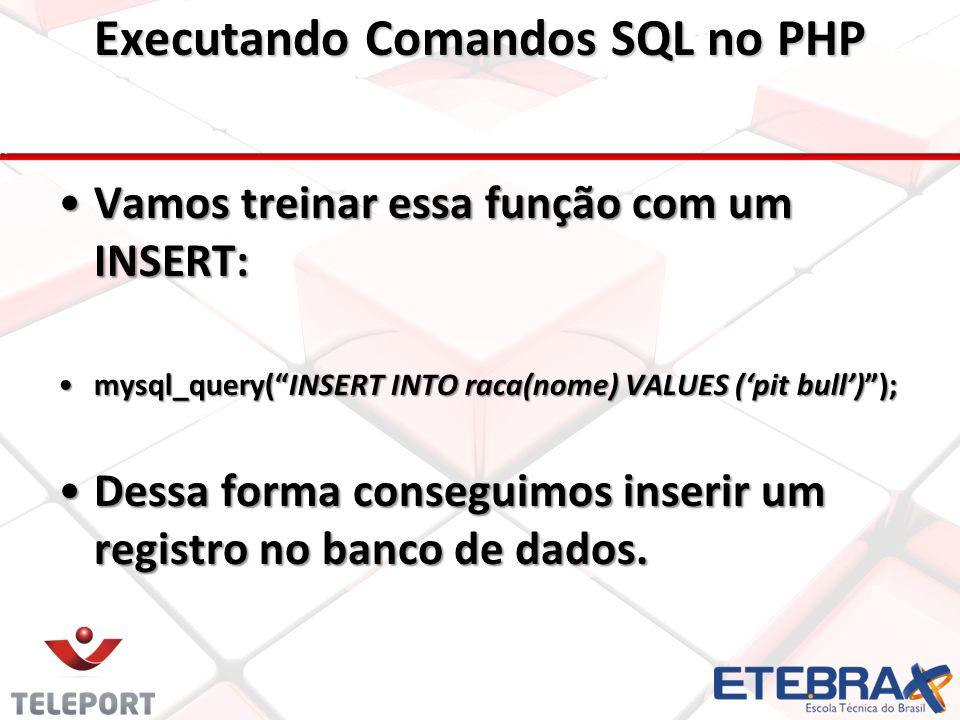 Vamos treinar essa função com um INSERT: mysql_query( INSERT INTO raca(nome) VALUES ('pit bull') ); Dessa forma conseguimos inserir um registro no banco de dados.