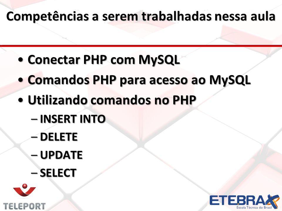 Competências a serem trabalhadas nessa aula Conectar PHP com MySQLConectar PHP com MySQL Comandos PHP para acesso ao MySQLComandos PHP para acesso ao MySQL Utilizando comandos no PHPUtilizando comandos no PHP –INSERT INTO –DELETE –UPDATE –SELECT