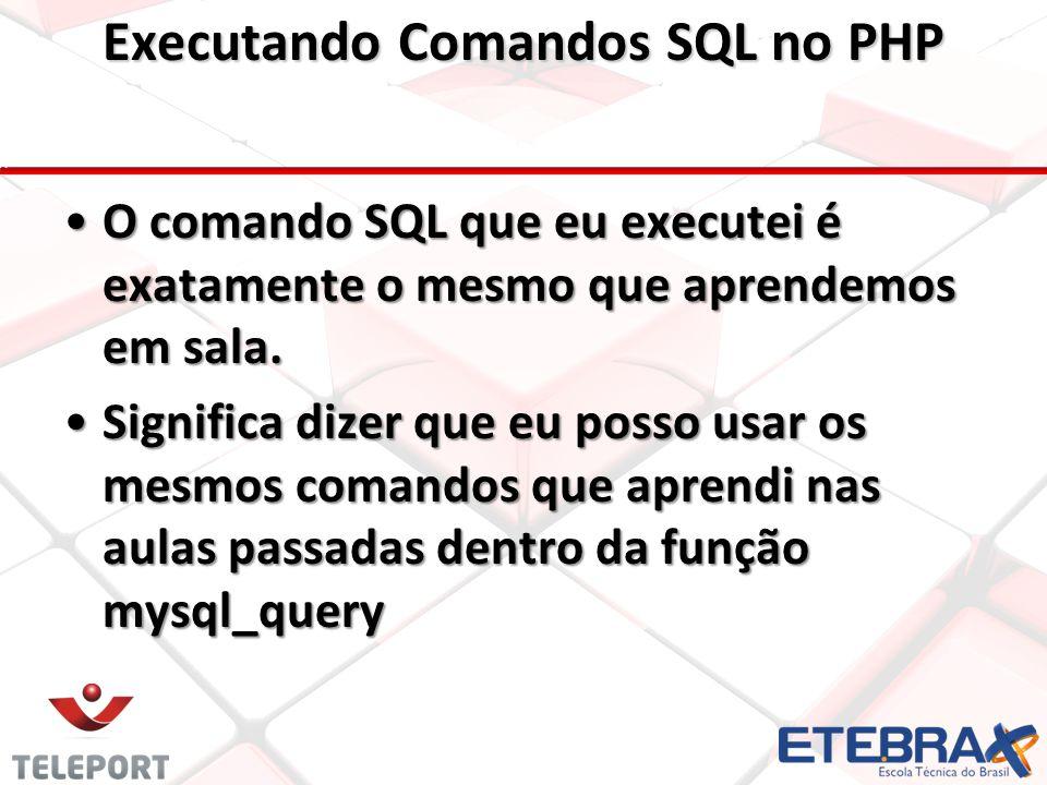 O comando SQL que eu executei é exatamente o mesmo que aprendemos em sala.