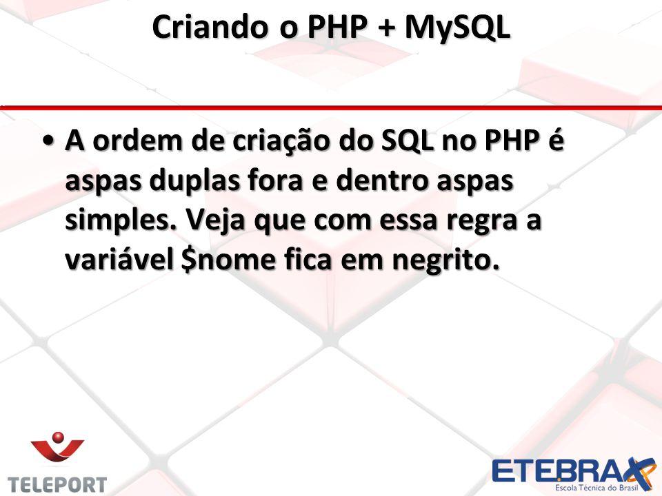 A ordem de criação do SQL no PHP é aspas duplas fora e dentro aspas simples.