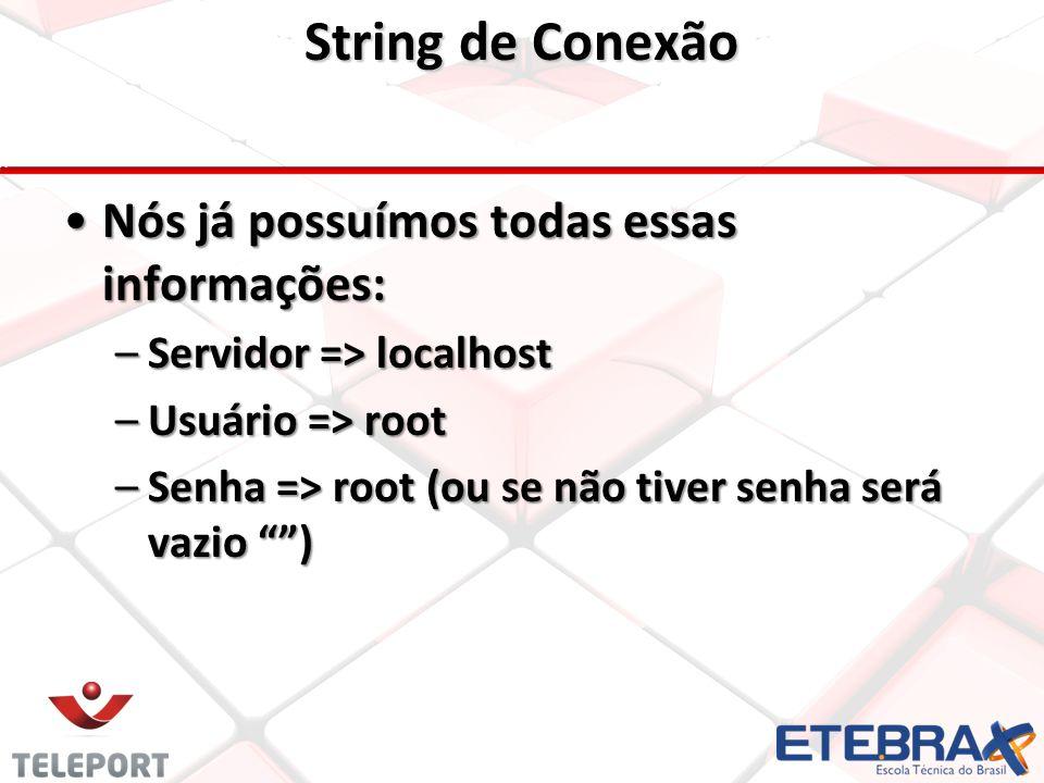 String de Conexão Nós já possuímos todas essas informações:Nós já possuímos todas essas informações: –Servidor => localhost –Usuário => root –Senha => root (ou se não tiver senha será vazio )