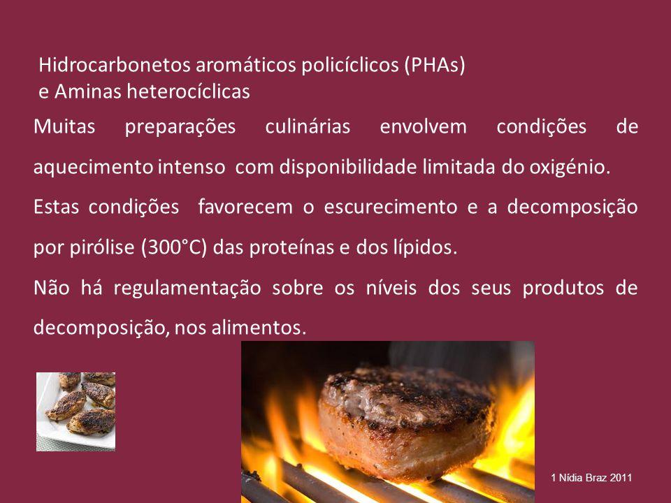 Hidrocarbonetos aromáticos policíclicos (PHAs) e Aminas heterocíclicas Muitas preparações culinárias envolvem condições de aquecimento intenso com disponibilidade limitada do oxigénio.