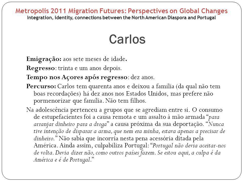 Carlos Emigração: aos sete meses de idade. Regresso: trinta e um anos depois. Tempo nos Açores após regresso: dez anos. Percurso: Carlos tem quarenta
